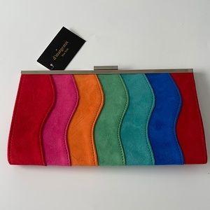 D'margeaux faux suede rainbow clutch